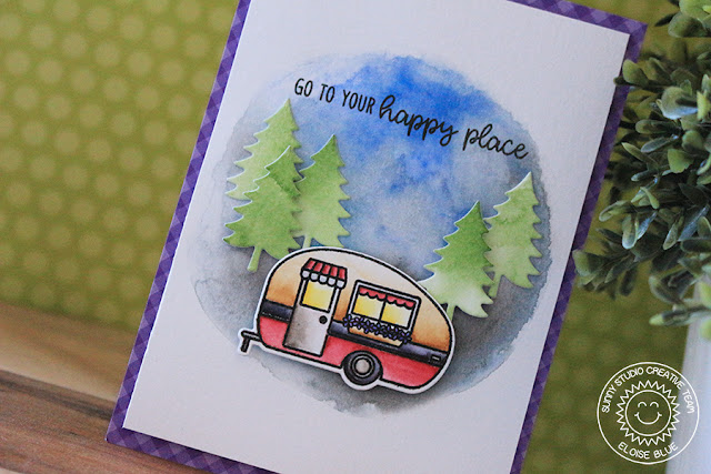 Sunny Studio Stamps: Happy Camper Adventure Themed Happy Place Card by Eloise Blue