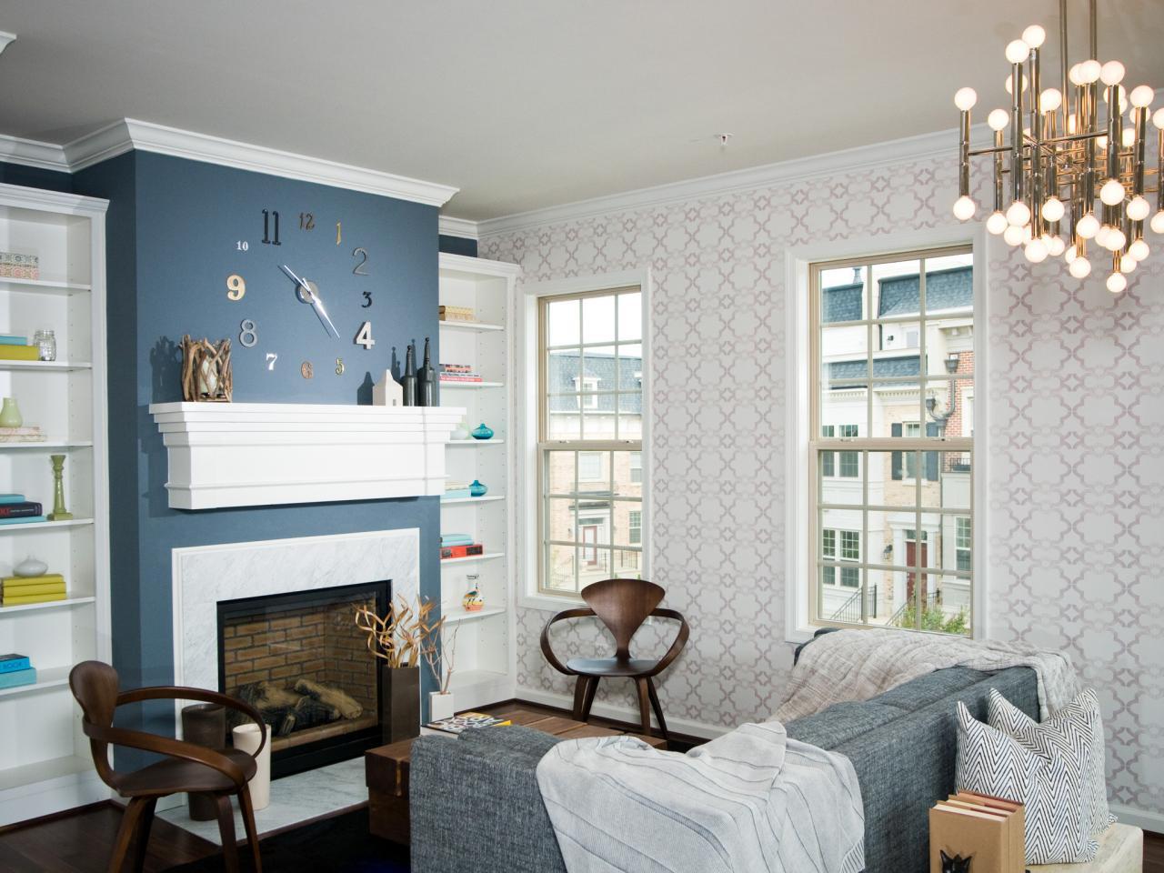 Soggiorno parete blu blu d adesivi per piastrelle mosaico