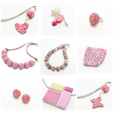 A selection of Pink Jewellery handmade by Lottie Of London on Etsy