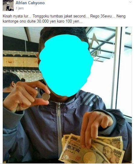 jaket bekas isi duit