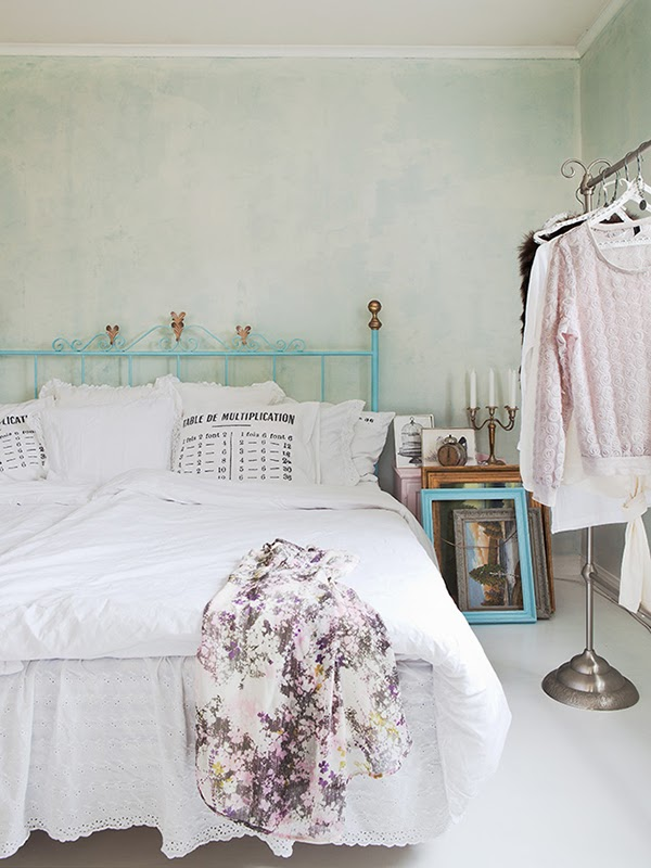Beautiful blue bedroom with vintage style