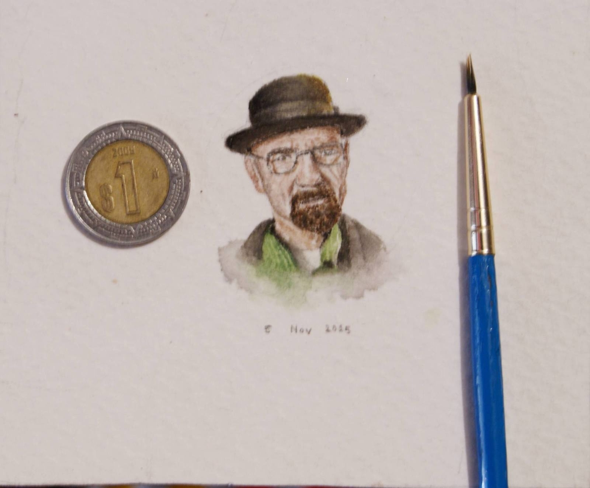 03-Heisenberg-Breaking Bad-Guillermo-Méndez-Mr-Luigi-Miniature-Drawings-and-Watercolor-Paintings-www-designstack-co