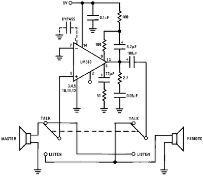 LM390 SIMPLE 2-WAY INTERCOM CIRCUIT SCHEMATIC DIAGRAM
