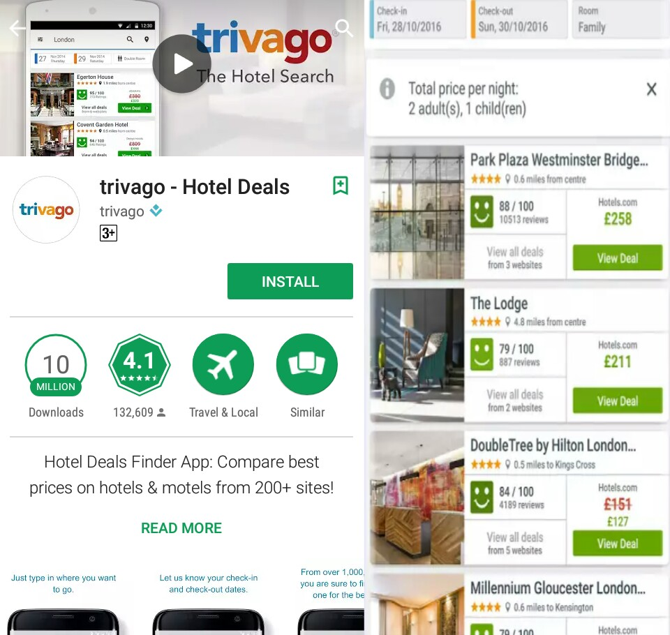 Trivago App Ko Limited Ne Devlop Kiya Ab Tak Is 10000000 Logo Downlod Kia Hai Ki Madat Se Hum Hotels Price Compared Kar Sakte Or