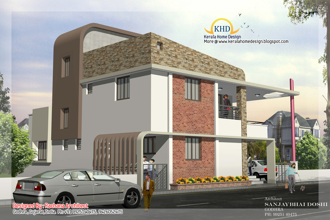 Duplex house plan and elevation 2741 sq ft kerala for Different elevations of house