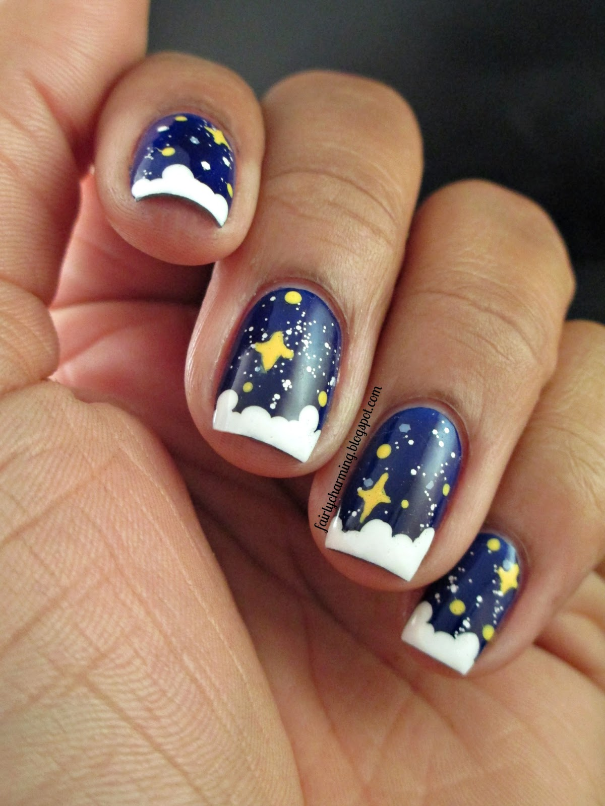 MLK, Martin Luther King Jr, I Have A Dream, dreams, dream land, slumber land, night sky, clouds, stars, Revlon Royal, nails, nail art, nail design, mani