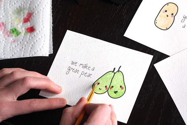 Printable Valentine Cards: We Make a Great Pear