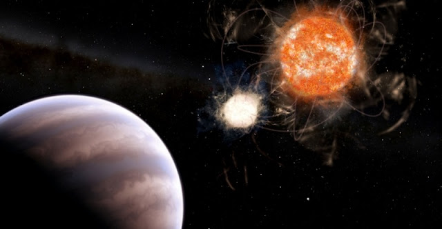 Brazilian researchers have identified robust signs of the existence of a giant object in the Cygnus constellation orbiting a binary system of a live star and a white dwarf (image: Leandro Almeida)