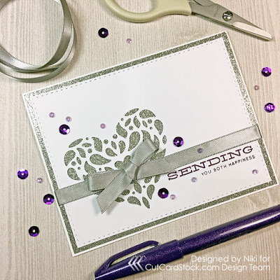 A Plum and Silver Wedding Card