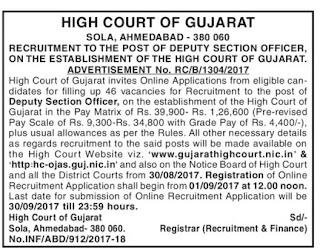 Gujarat high Court recruitment notification for Deputy Section Officer Jobs