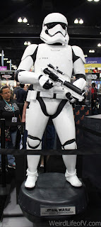 Full size First Order Stormtrooper statue on display
