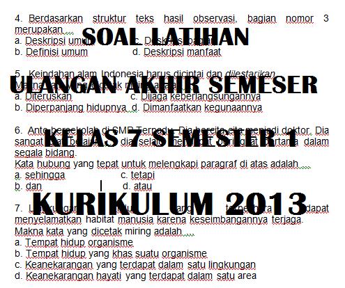 Link Download Soal Latihan UAS PAS Kelas 7 Semester 1 Kurikulum 2013 Tahun Pelajaran 2021/2022