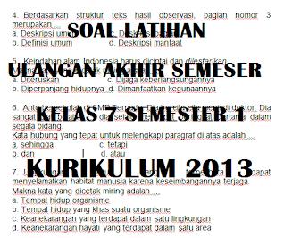 Soal UAS PAS Bahasa Indonesia Kelas 7 Semester 1 Kurikulum 2013 tahun 2021 2022 2023 2024