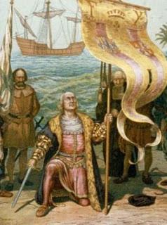 Dibujo del Descubrimiento de América con Cristobal Colón