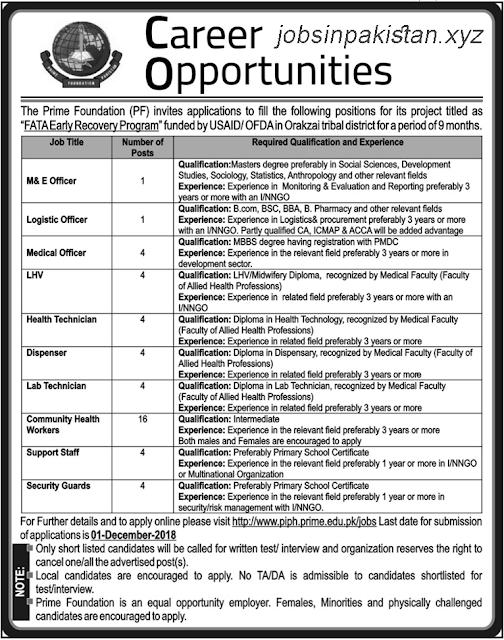 Advertisement for Prime Institute of Public Health Jobs 2018