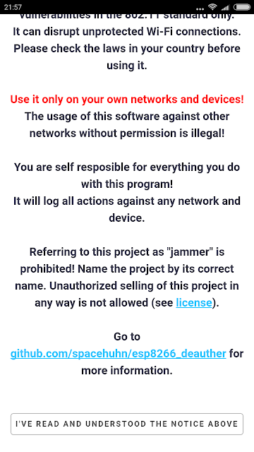 ESP8266 Deauther, messaggio di Warning e condizioni di utilizzo