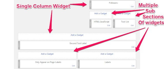 sub-sections in widget area