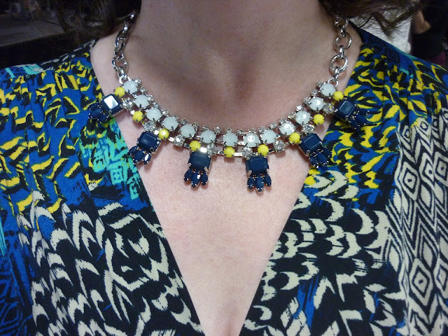 Tribal Print Maxi Dress with Yellow & Blue Statement Necklace | Petite Silver Vixen