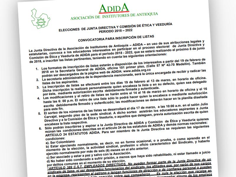 Convocatoria para inscripción de listas elecciones de junta directiva y comisión de ética y veeduría periodo 2018 – 2022