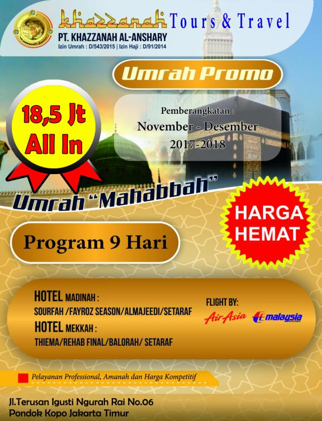 Program Paket Umroh Promo Khazzanah Tour Travel