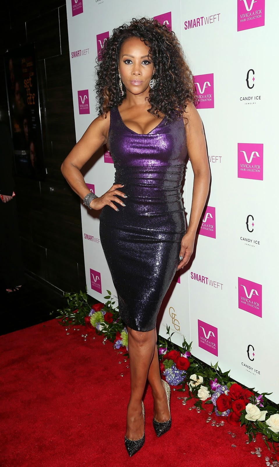 Ladies In Satin Blouses Vivica A Fox Purple Sequin Dress