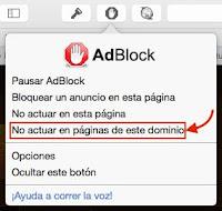 Mensaje desactivar Adblock