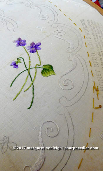 Society Silk Violets: progress working the white silk border on the antique stamped linen