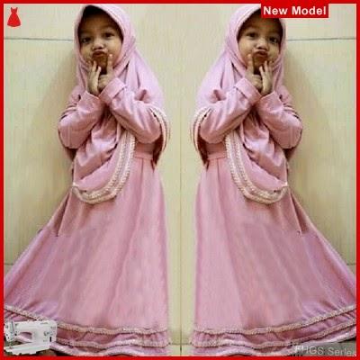 FHGS9065 Model Syari Anak Hanifa, Muslim Pink Pakaian Anak BMG