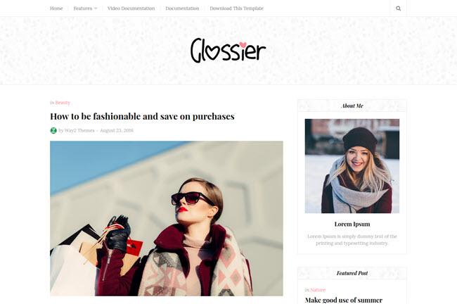 Glossier – Responsive Clean Blogger Template