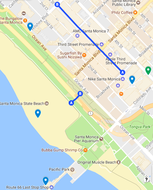 map route santa monica downtown