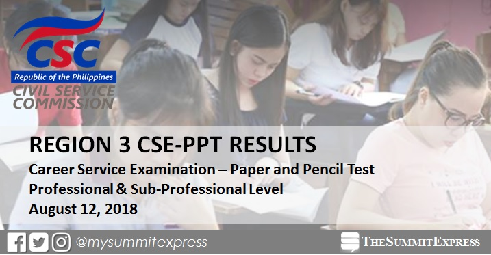 Region 3 Passers: August 12, 2018 Civil service exam CSE-PPT results