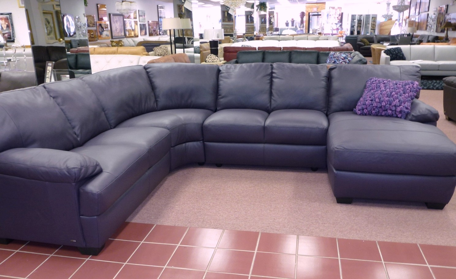 Eggplant Color Sofa Sectional Connecting Brackets Natuzzi Leather Sofas And Sectionals By Interior Concepts
