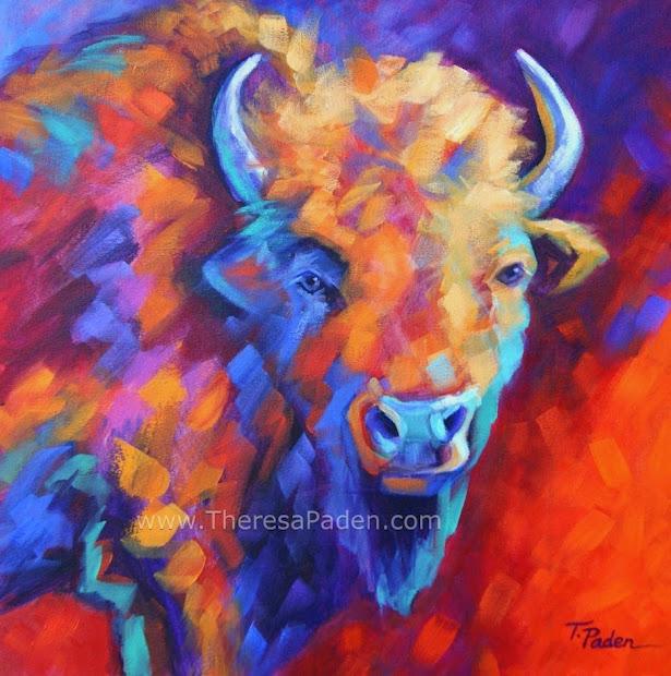Paintings Theresa Paden Colorful Wildlife Art Abstract Buffalo Painting