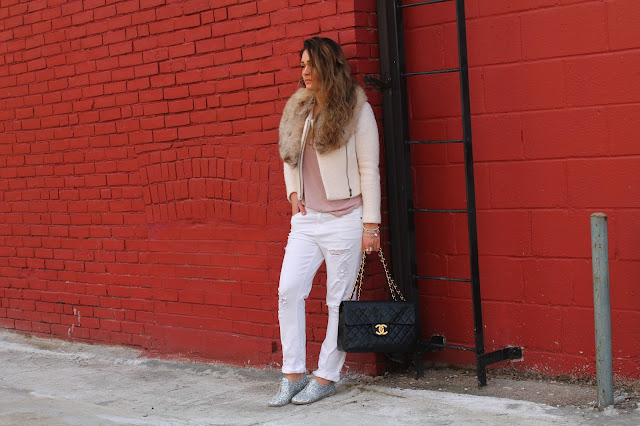 Pedro Garcia shoes, sparkly shoes, casual outfit with oxfords, canadian fashoin blogger, white ripped jeans, banana republic jacket, cropped jacket, spring trend cropped jacket