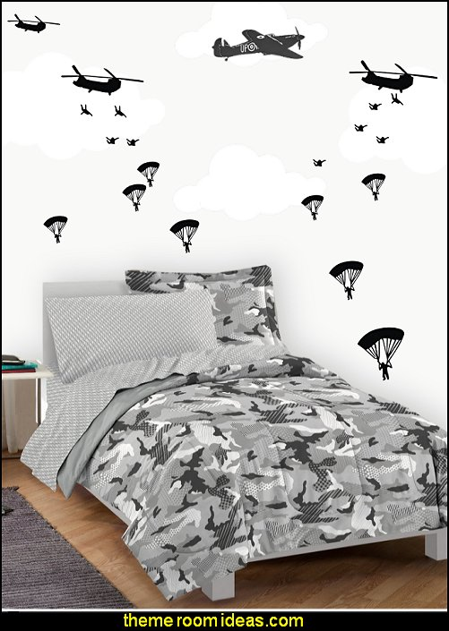 Military Paratroopers wall decals Camouflage bedding army theme bedrooms military theme