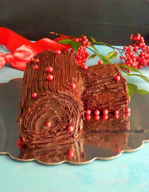 Traditional Yule Log Cake