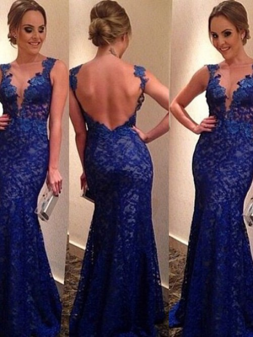 Trumpet/Mermaid Scoop Neck Lace Tulle Floor-length Appliques Lace Prom Dresses