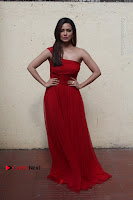 Actress Sana Khan Latest Pos in Georgius Spicy Red Long Dress at the Interview  0010.jpg
