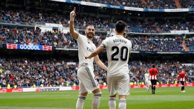 Benzema comemora gol do Real sobre o Bilbao (Foto: Reuters)