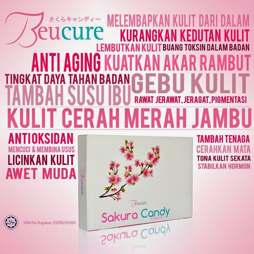 Kebaikan Beucure Sakura Candy, memutihkan kulit, sihat