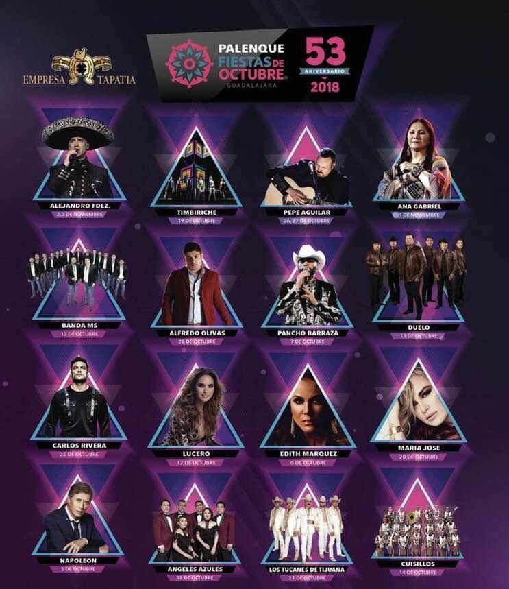 Palenque Fiestas de Octubre 2018, próximos conciertos