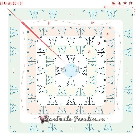 """Схема вязания обратной стороны подушки - большой """"бабушкин квадрат"""""""