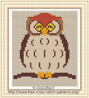 Owl, Free and easy printable cross stitch pattern