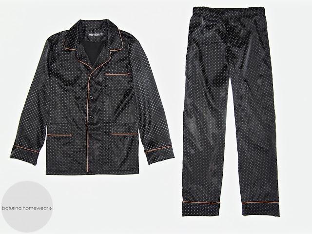 Mens custom made vintage black silk pajamas set traditional classic