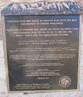 Cahuenga Peak Dedication plauque