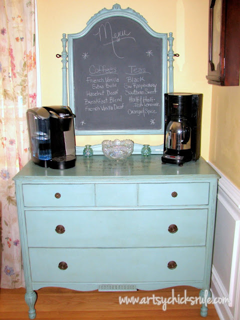 Annie Sloan Chalk Paint Dresser with Chalkboard Mirror:Artsy Chicks Rule