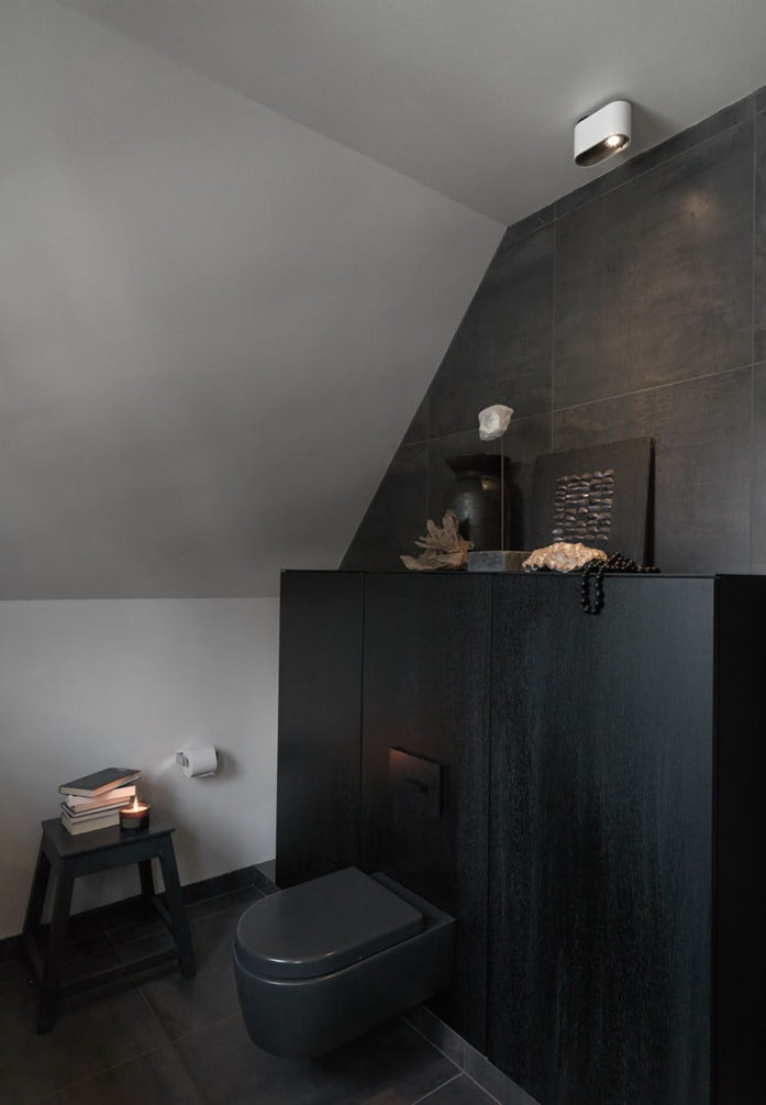 Black on black design in bathroom-design addict mom