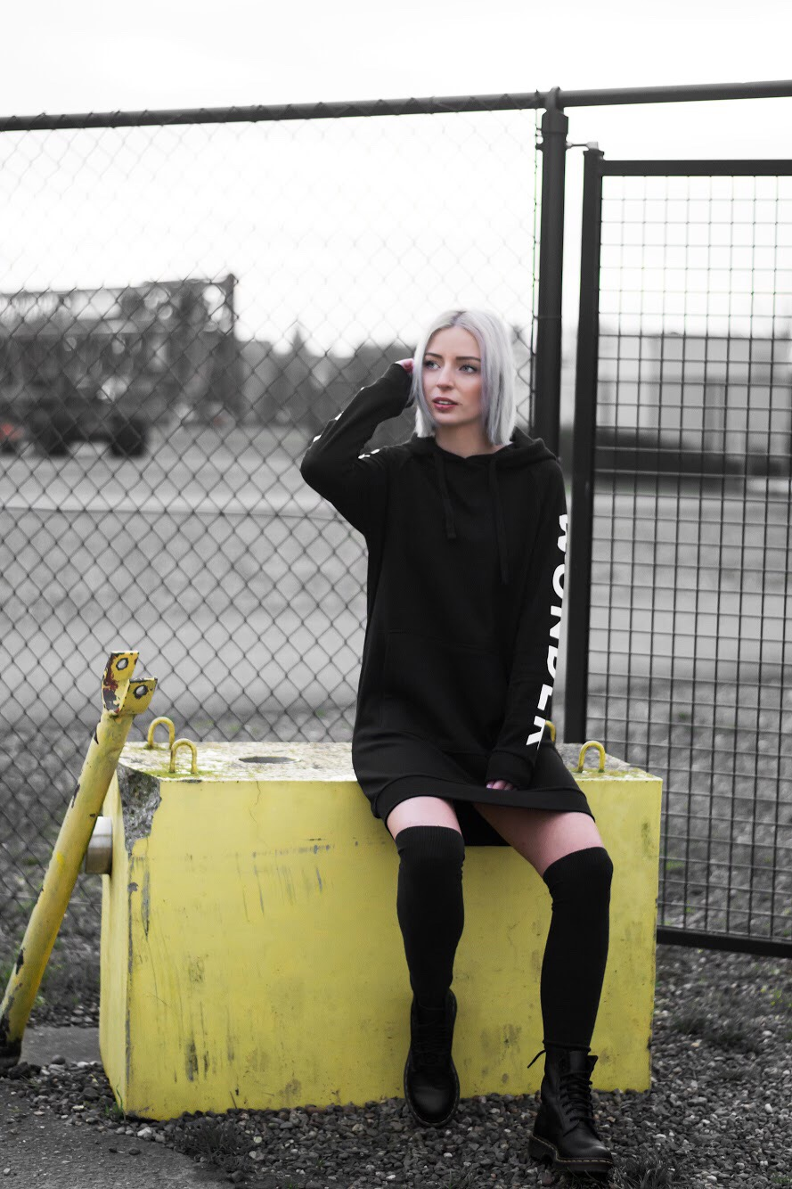 Black, sweater dress, hoodie dress, all black, dr martens boots, over the knee socks, outfit, urban, Q/S designed by