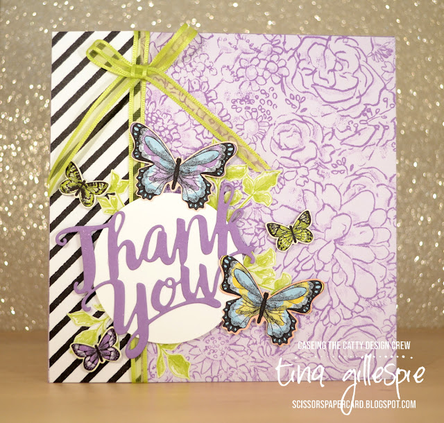 scissorspapercard, Stampin' Up!, CASEing The Catty, Botanical Butterfly DSP, Thank You Thinlit, Label Me Pretty, Sale-A-Bration