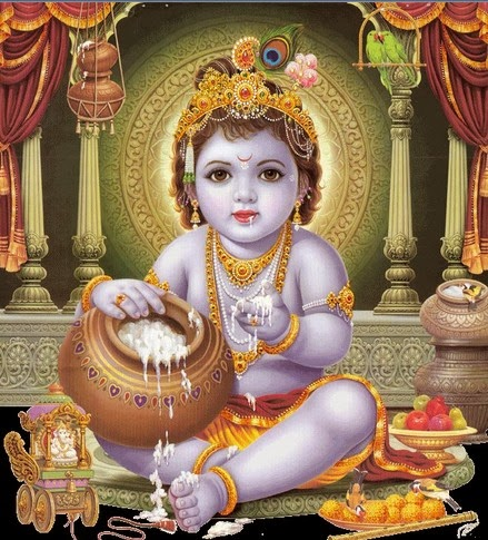 baby krishna eating butter
